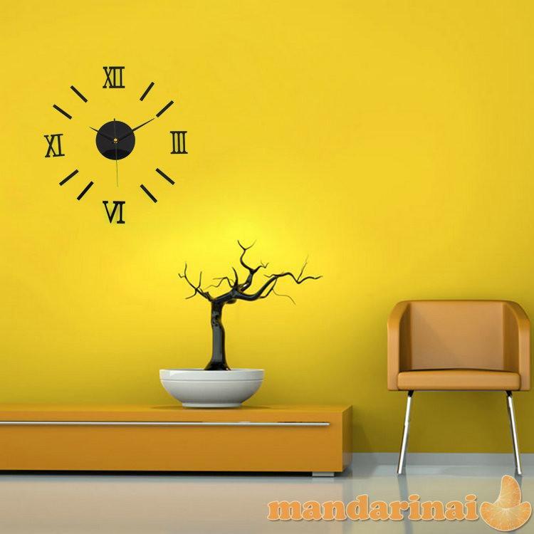 """3D juodas sieninis laikrodis """"Romėniškas"""""""