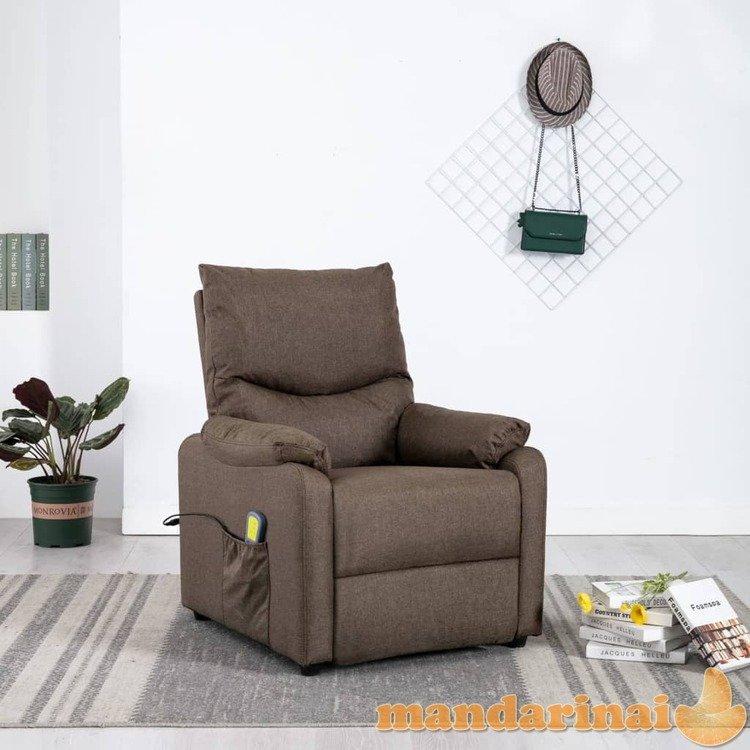 Elektrinis masažinis krėslas, rudos spalvos, audinys
