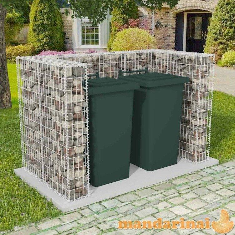 Gabionas 2 šiukšlių konteineriams, plienas, 180x100x120 cm