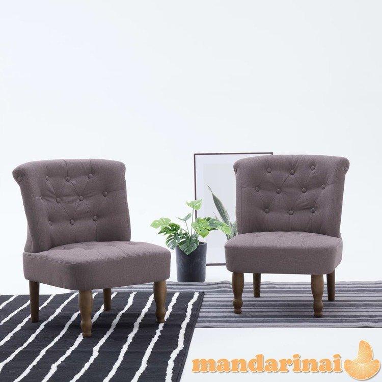 Prancūziško stiliaus kėdės, 2 vnt., taupe spalvos, audinys