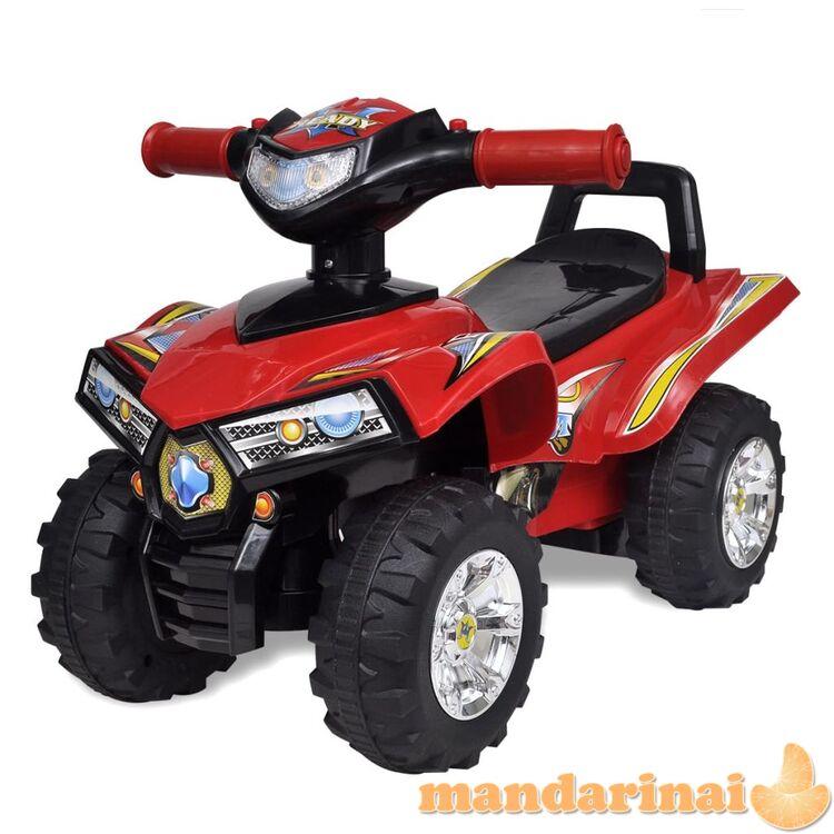 Raudonas vaikiškas keturratis motociklas su garsais ir švieselėmis