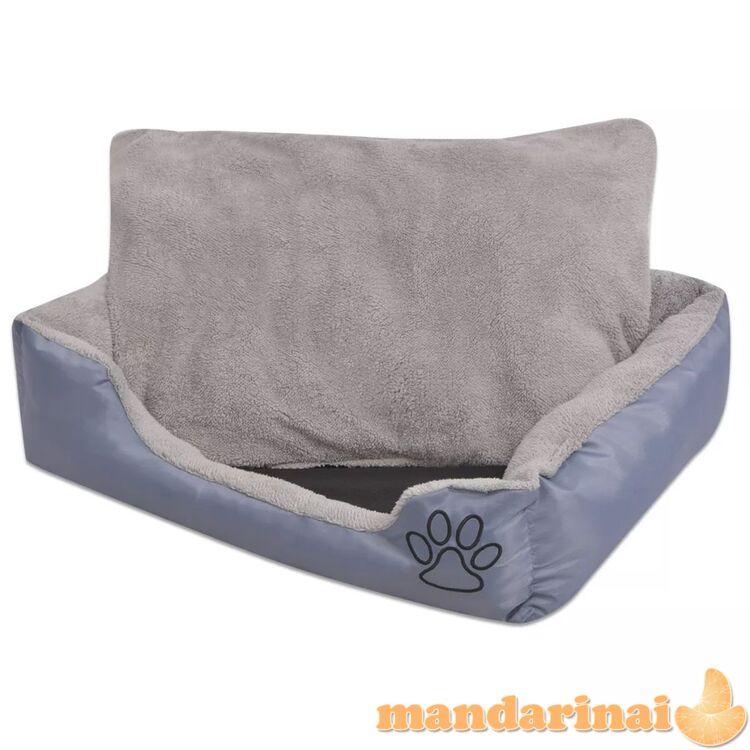 Šuns guolis su minkšta pagalvėle, dydis l, pilkas