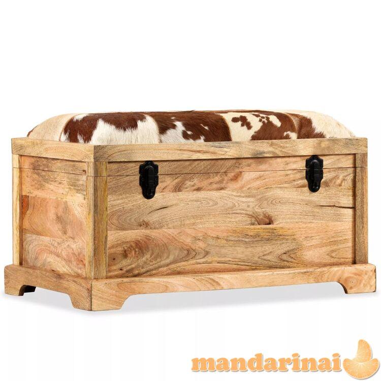 Suolas-daiktadėžė, tikra oda ir mango mediena, 80x44x44 cm
