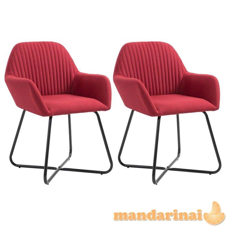 Valgomojo kėdės, 2 vnt., raudonojo vyno spalvos, audinys