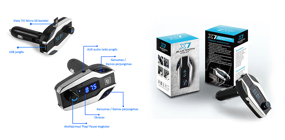 23.99 € FM moduliatorius su laisvų rankų įranga