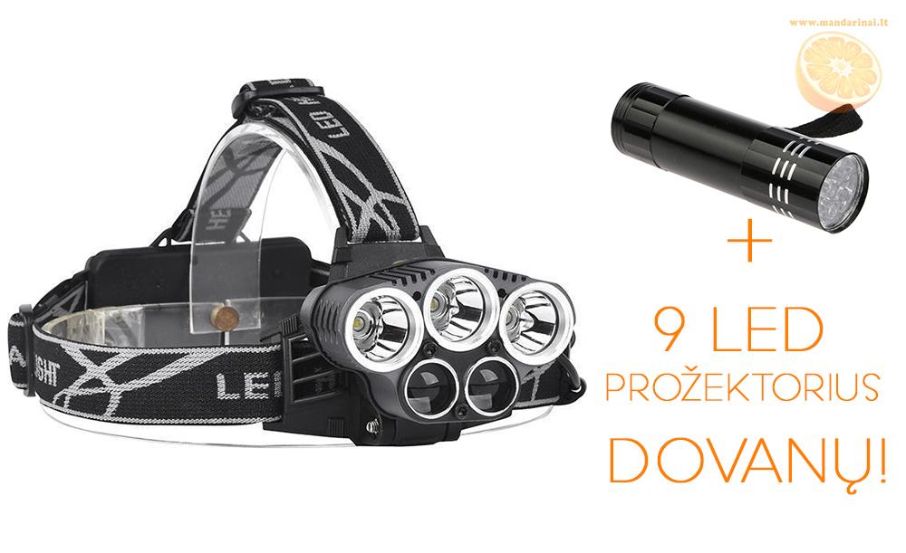 29.99 € CREE T6 5 LED super galingas galvos prožektorius